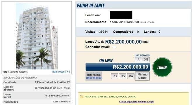 Triplex que levou Lula à prisão vai a leilão nesta terça-feira e não recebeu lances