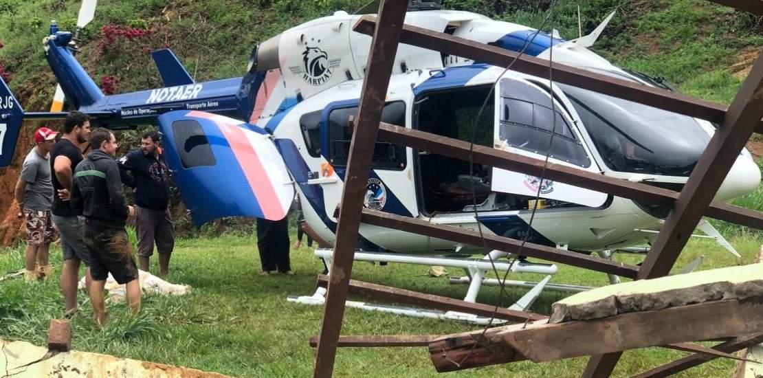 VÍDEO | Família soterrada em Santa Leopoldina é resgatada por helicóptero do Notaer; um homem morreu - Jornal Folha Vitória