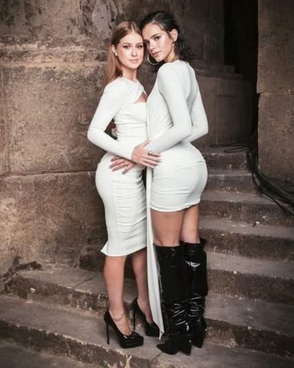 Bruna Marquezine. Foto do site da Folha Vitória que mostra Bruna Marquezine e Marina Ruy Barbosa posam juntas: 'Quanta gratidão pelo nosso reencontro'